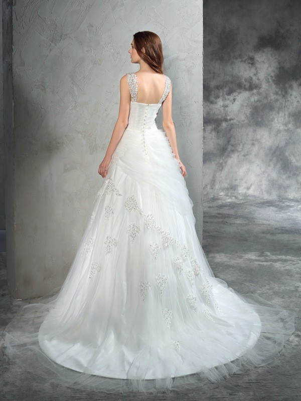 Ball Gown Straps Applique Sleeveless Long Net Wedding Dresses