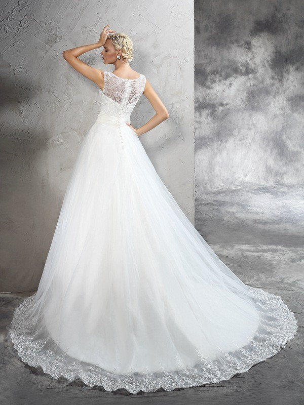 Ball Gown Sheer Neck Sash/Ribbon/Belt Sleeveless Long Net Wedding Dresses