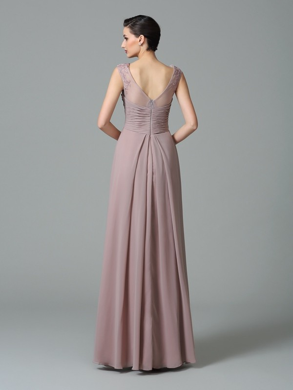 A-Line/Princess Scoop Ruched Sleeveless Long Chiffon Bridesmaid Dresses