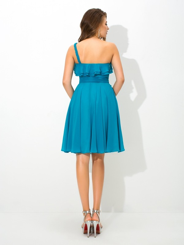 A-Line/Princess One-Shoulder Sash/Ribbon/Belt Sleeveless Short Silk like Satin Bridesmaid Dresses