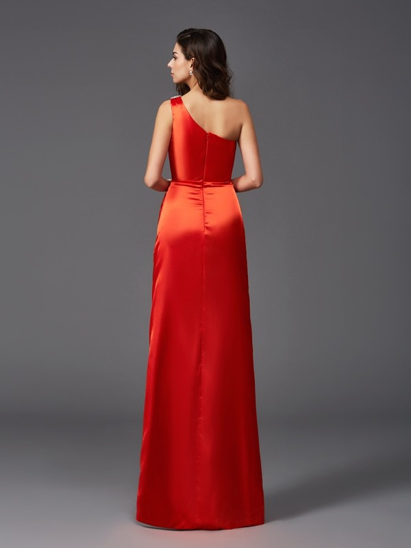 Sheath/Column One-Shoulder Sleeveless Long Elastic Woven Satin Bridesmaid dresses