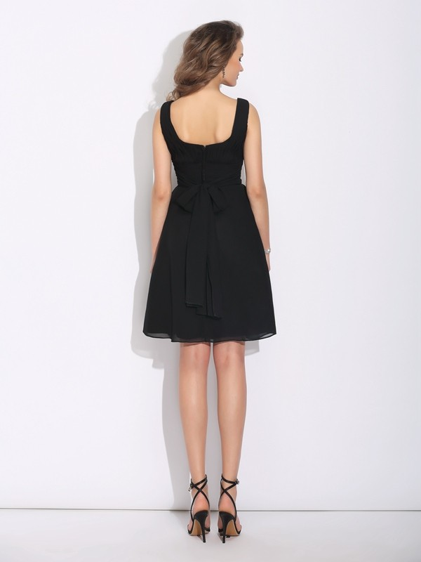 A-Line/Princess Scoop Bowknot Sleeveless Short Chiffon Dresses