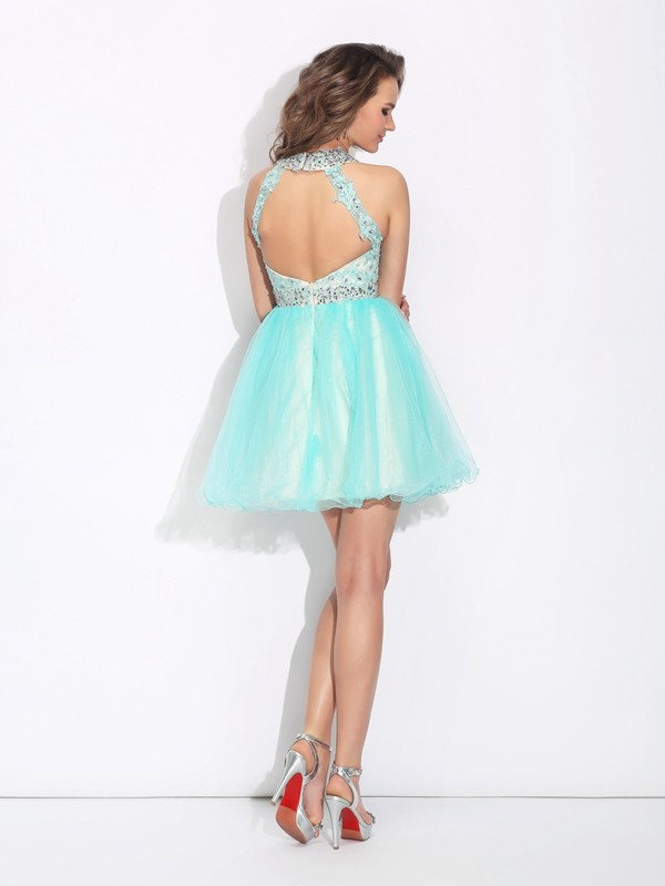 A-Line/Princess High Neck Lace Sleeveless Short Net Dresses