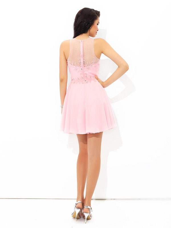 A-Line/Princess Sheer Neck Applique Sleeveless Short Chiffon Cocktail Dresses