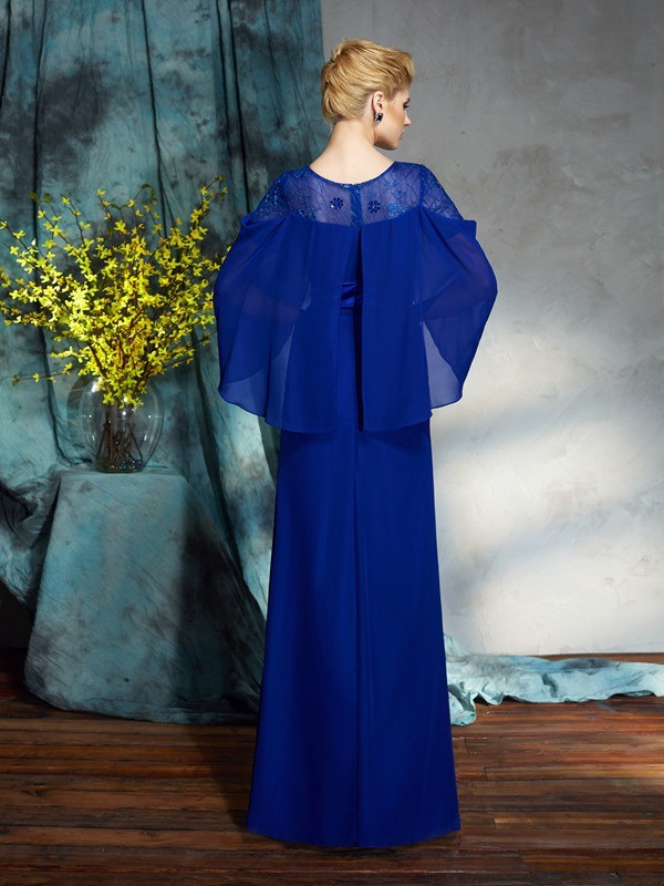 Sheath/Column Bateau Long Sleeves Long Chiffon Dresses
