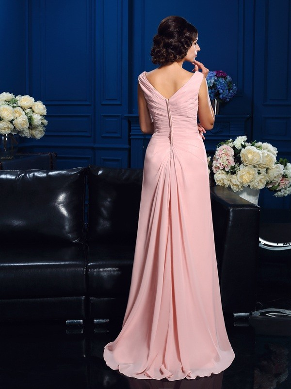 A-Line/Princess V-neck Sleeveless Beading Sweep/Brush Train Chiffon Mother Of The Bride Dresses