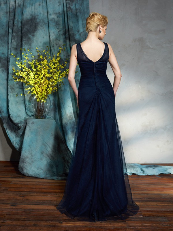 Sheath/Column Bateau Applique Sleeveless Long Net Mother of the Bride Dresses