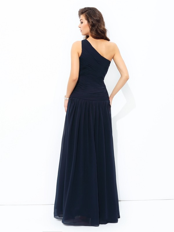 A-line/Princess One-Shoulder Applique Sleeveless Long Chiffon Dresses