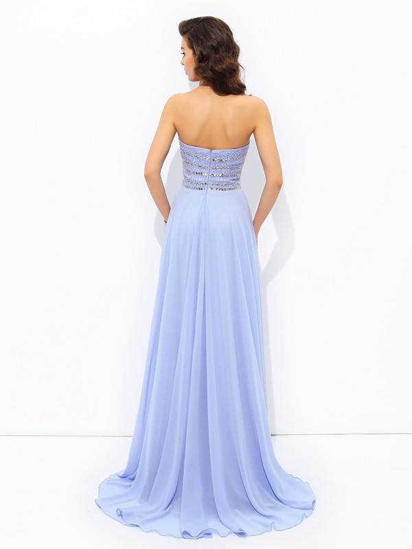 A-line/Princess Strapless Beading Sleeveless Long Chiffon Dresses
