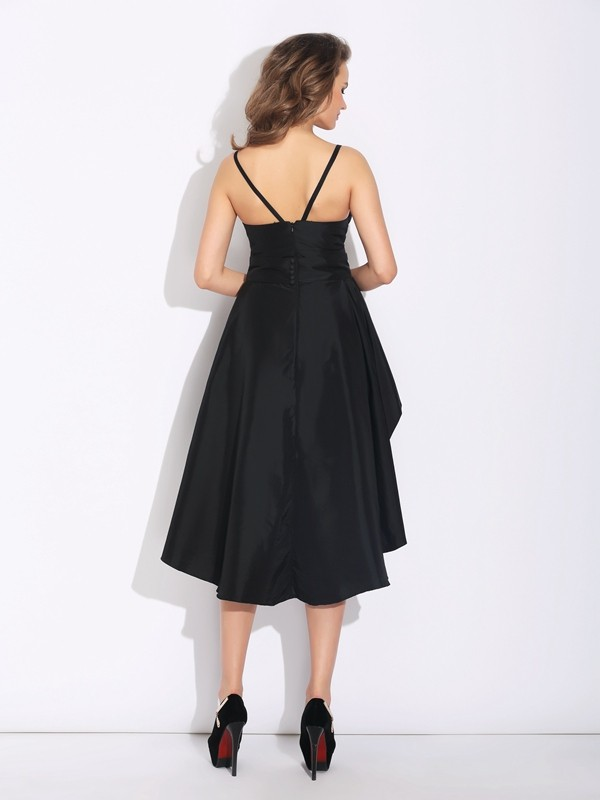 A-Line/Princess Spaghetti Straps Ruffles Sleeveless High Low Taffeta Dresses