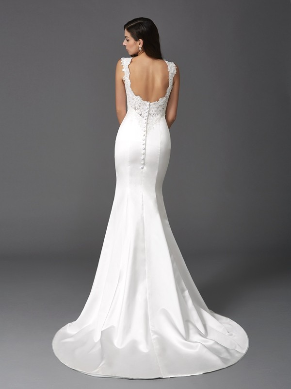 Trumpet/Mermaid Straps Beading Sleeveless Long Satin Wedding Dresses