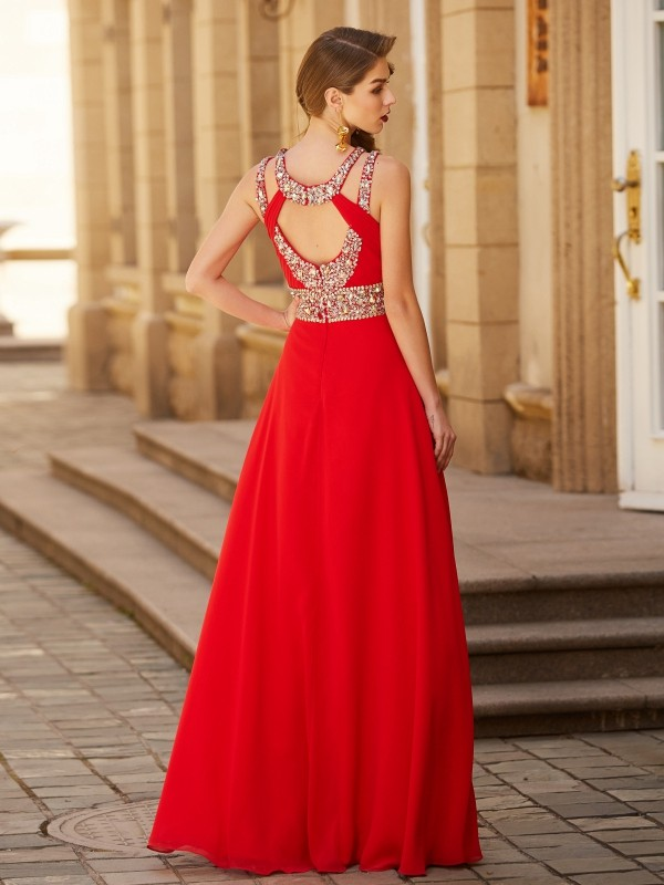 A-line/Princess Scoop Beading Sleeveless Floor-length Chiffon Dresses