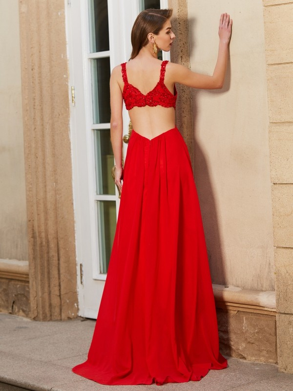 A-Line/Princess Straps Sleeveless Floor-Length Applique Chiffon Dresses