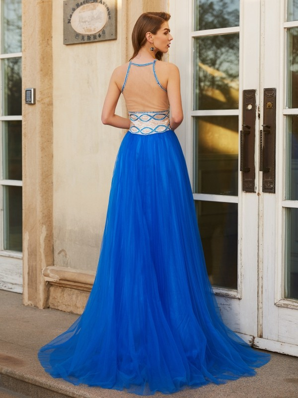 A-Line/Princess Jewel Beading Sleeveless Floor-Length Tulle Dresses