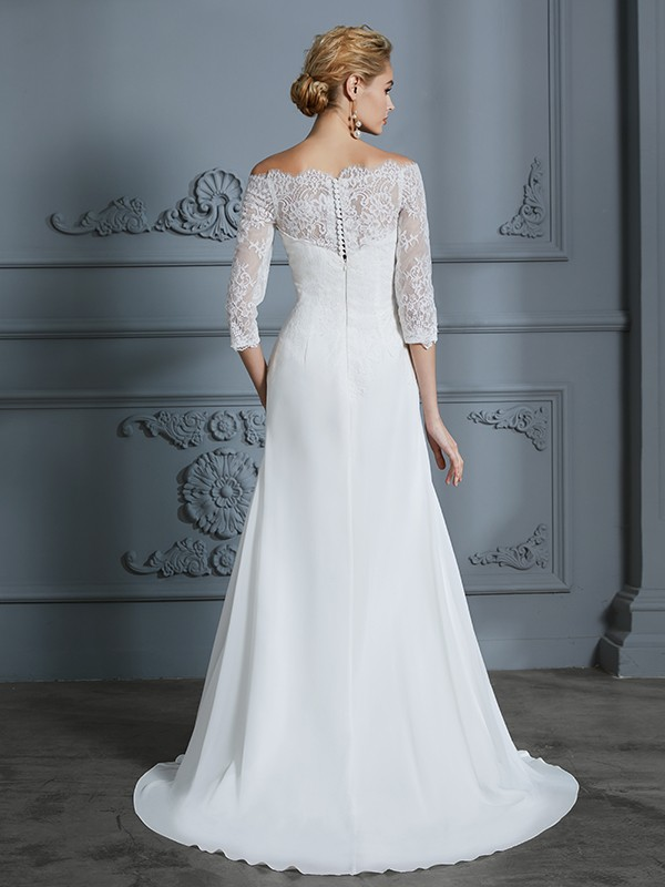 Trumpet/Mermaid 1/2 Sleeves Off-the-Shoulder Sweep/Brush Train Chiffon Wedding Dresses