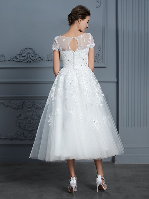 A-Line Scoop Short Sleeves Tea-Length Tulle Wedding Dress
