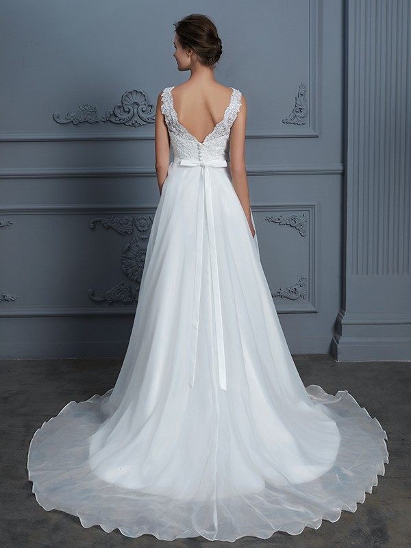 A-Line V-neck Sleeveless Floor-Length Lace Chiffon Wedding Dress
