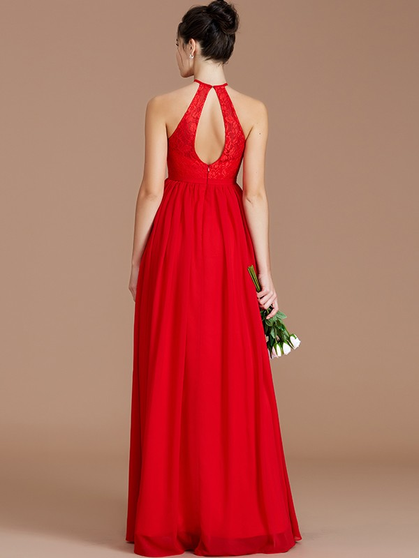 A-Line Halter Sleeveless Lace Floor-Length Chiffon Bridesmaid Dresses