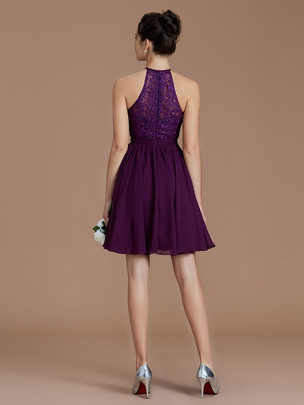 A-Line Halter Sleeveless Lace Short/Mini Chiffon Bridesmaid Dresses