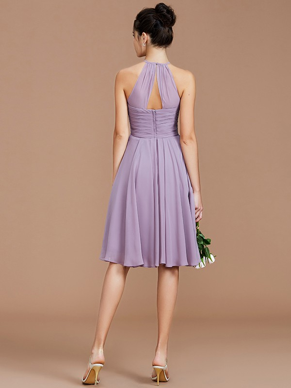 A-Line Halter Sleeveless Ruched Short/Mini Chiffon Bridesmaid Dresses