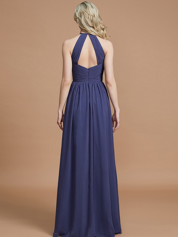 A-Line Scoop Chiffon Sleeveless Floor-Length Bridesmaid Dresses