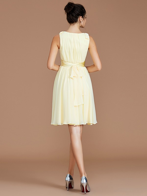 A-Line V-neck Sleeveless Sash/Ribbon/Belt Short/Mini Chiffon Bridesmaid Dresses