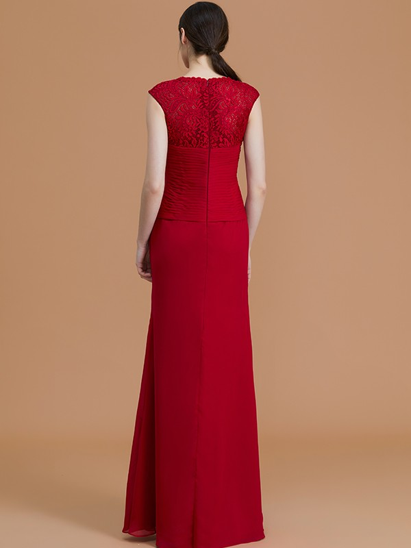 Sheath/Column Jewel Sleeveless Floor-Length Lace Chiffon Bridesmaid Dresses