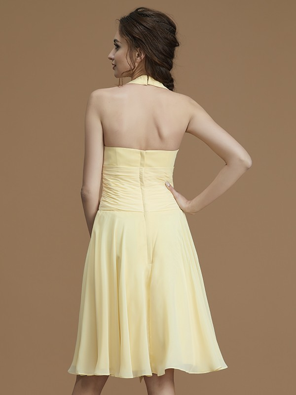 A-Line Halter Sleeveless Short/Mini Chiffon Bridesmaid Dress