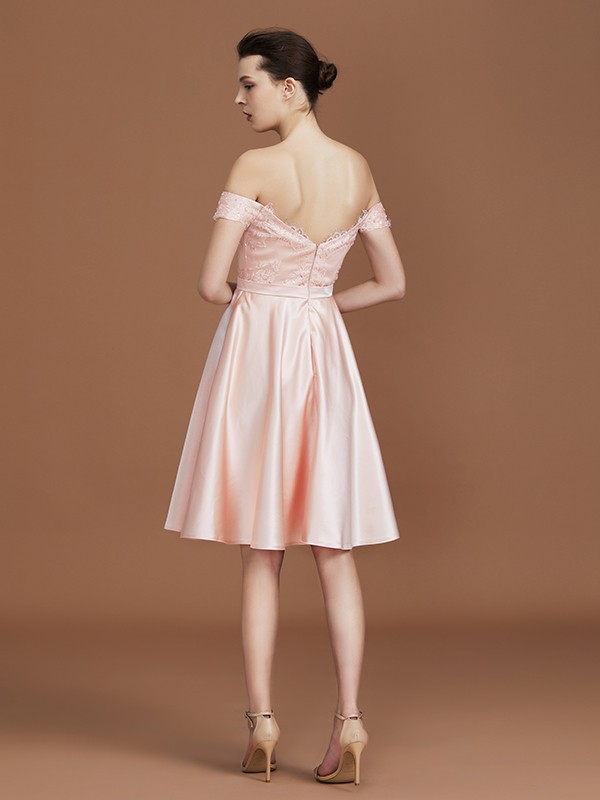 A-Line Sweetheart Knee-Length Off-the-Shoulder Satin Bridesmaid Dress
