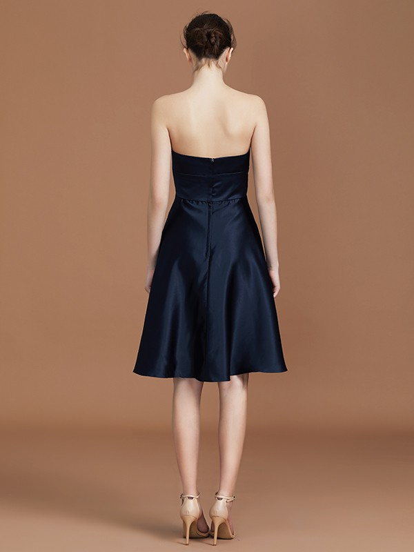 A-Line Sweetheart Knee-Length Sleeveless Satin Bridesmaid Dress