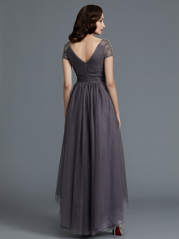 A-Line V-neck Short Sleeves Asymmetrical Tulle Mother of the Bride Dresses