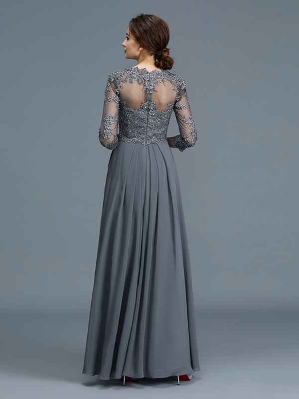 A-Line/Princess V-neck 3/4 Sleeves Ruffles Chiffon Floor-Length Mother of the Bride Dresses