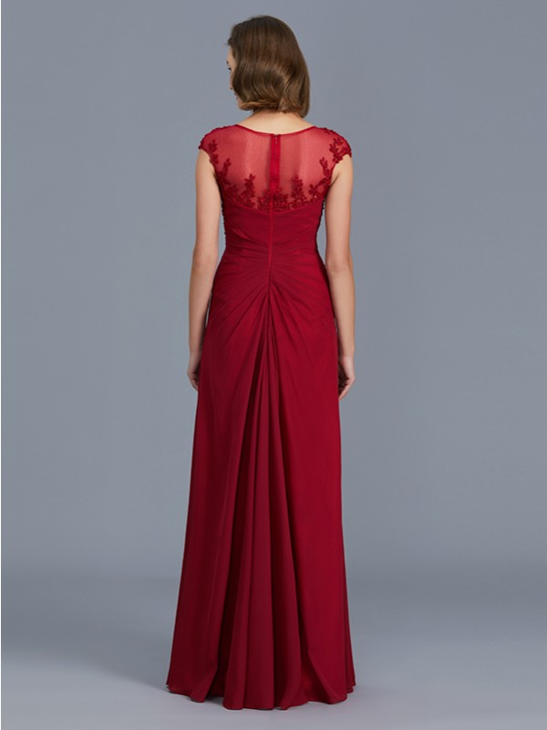 Sheath Scoop Sleeveless Chiffon Floor-Length Mother of the Bride Dress