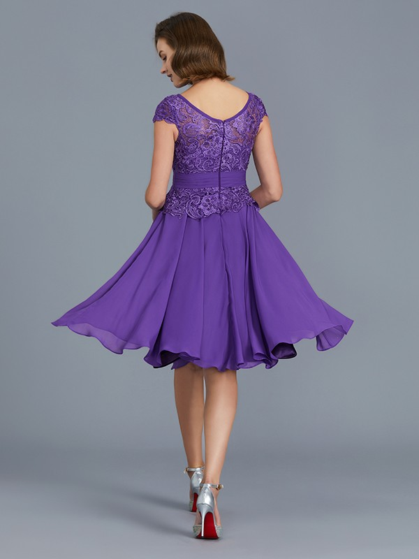 A-Line Bateau Chiffon Knee-Length Sleeveless Mother of the Bride Dress