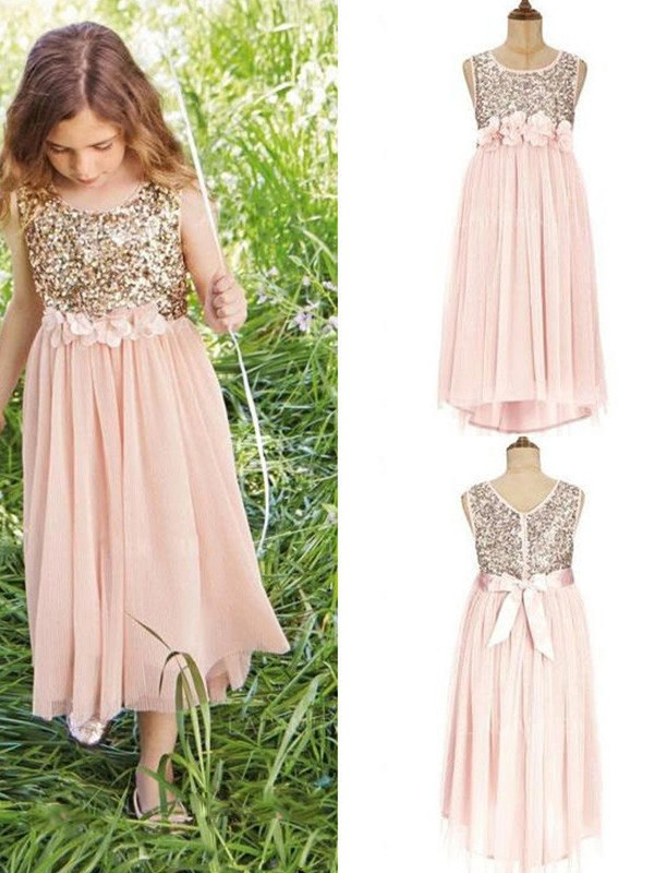 A-Line Sleeveless Scoop Asymmetrical Sequin Chiffon Flower Girl Dresses
