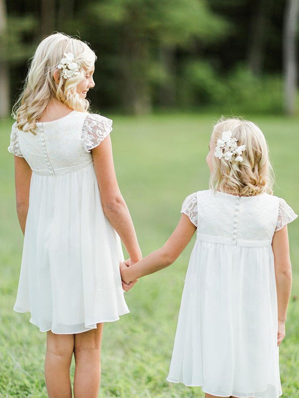 A-Line Short Sleeves Scoop Knee-Length Lace Chiffon Flower Girl Dresses