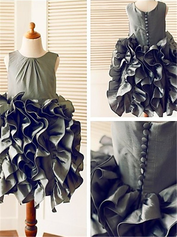 Ball Gown Sleeveless Straps Tea-Length Tulle Flower Girl Dress
