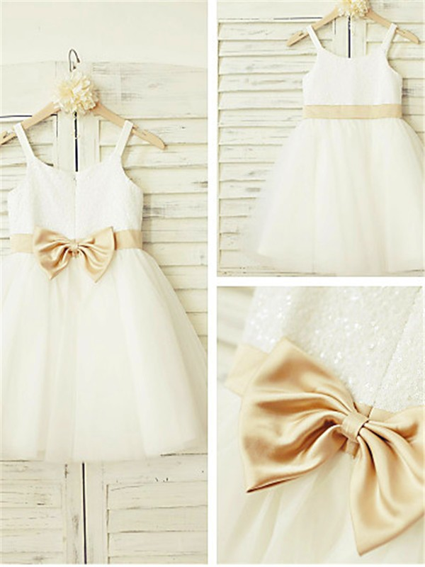 A-line Spaghetti Straps Sleeveless Knee-Length Tulle Flower Girl Dress