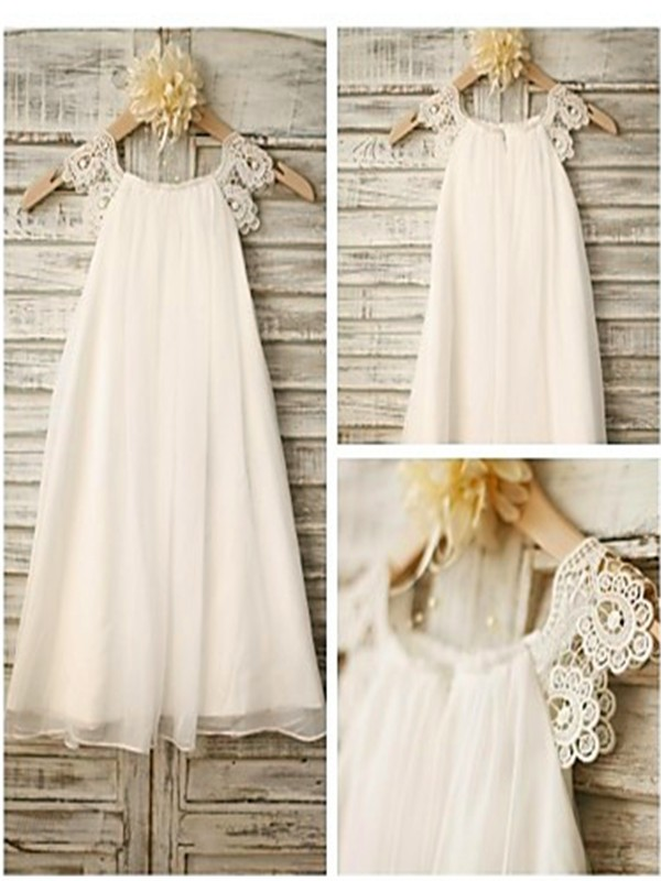 A-line Scoop Sleeveless Lace Ankle-length Chiffon Flower Girl Dress