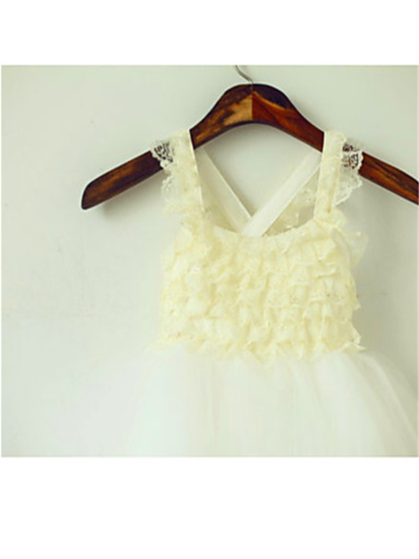 Ball Gown Square Sleeveless Layers Tea-Length Tulle Flower Girl Dress