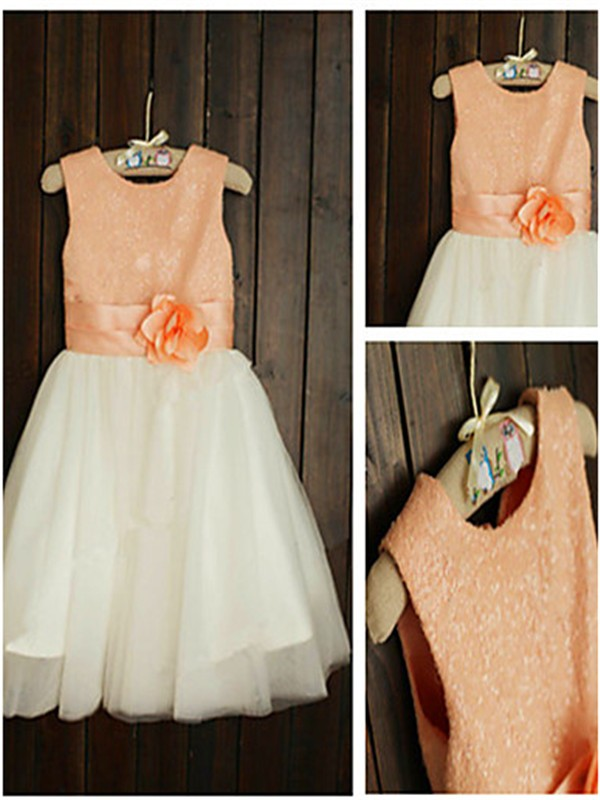 Princess Scoop Sleeveless Tea-Length Tulle Flower Girl Dress