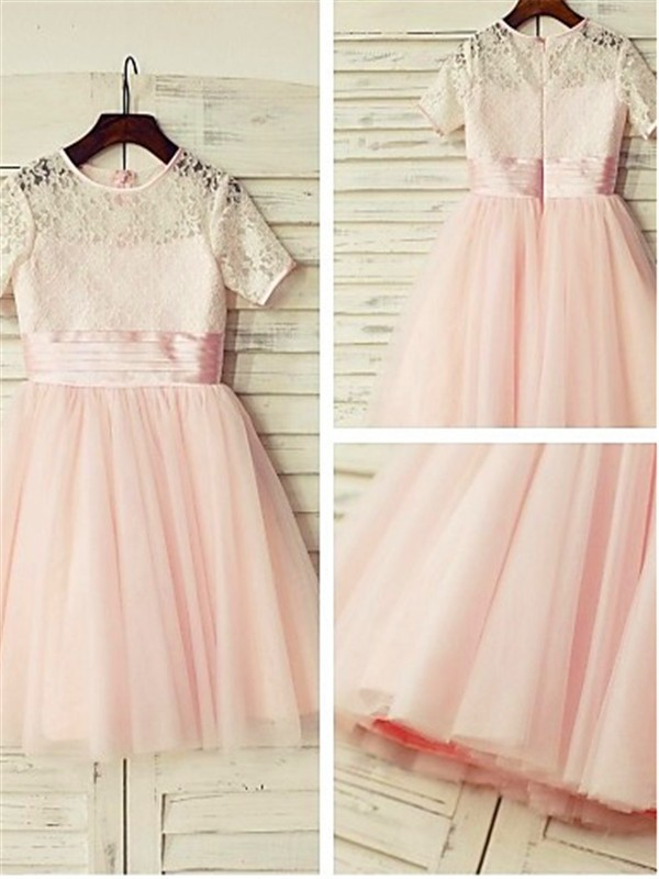 A-line Jewel Short Sleeves Lace Tea-length Tulle Flower Girl Dress