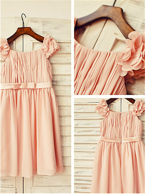 A-line Straps Sleeveless Layers Tea-length Chiffon Flower Girl Dress