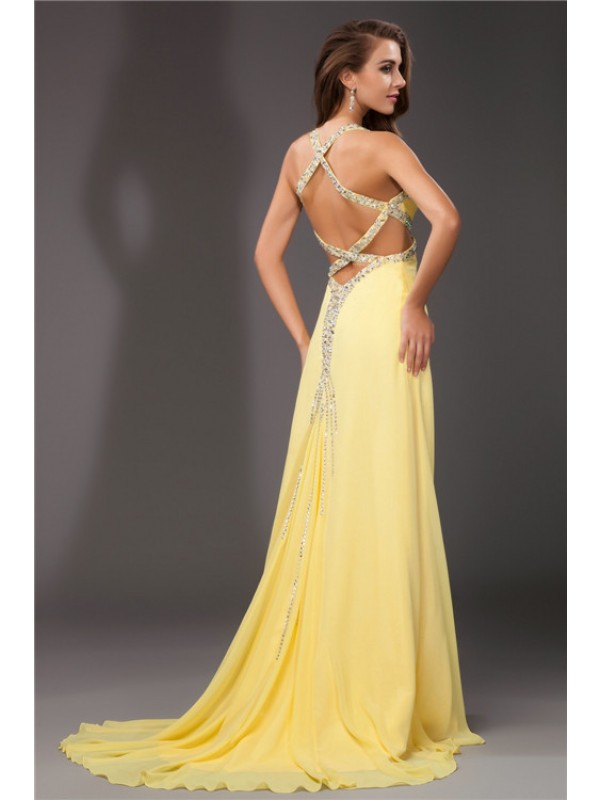 Sheath/Column Beading Halter Sleeveless Long Chiffon Dresses