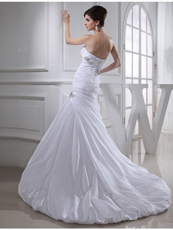 Beading Trumpet/Mermaid Long Taffeta Wedding Dresses