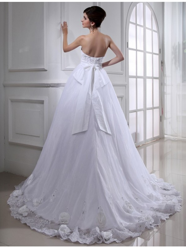 Ball Gown Beading Hand-made Flower Strapless Sleeveless Long Organza Wedding Dresses
