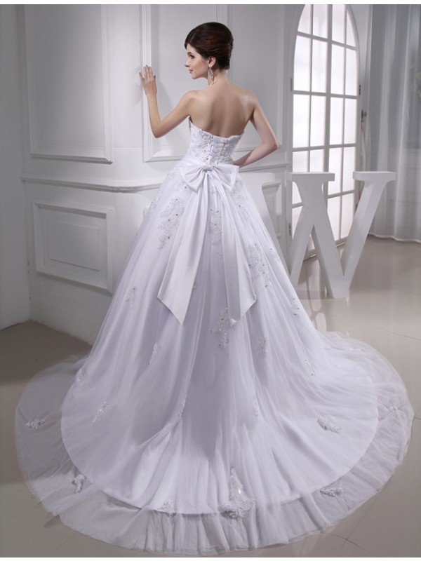 Ball Gown Beading Strapless Sleeveless Applique Satin Tulle Wedding Dresses