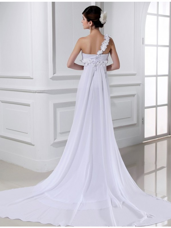A-Line/Princess One-shoulder Beading Hand-made Flower Sleeveless Chiffon Wedding Dresses