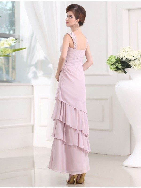 A-Line/Princess Beading Sleeveless Straps Layered Chiffon Long Dresses