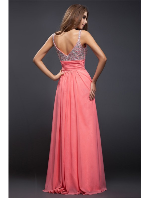 Sheath/Column Spaghetti Straps Beading Sleeveless Long Chiffon Dresses